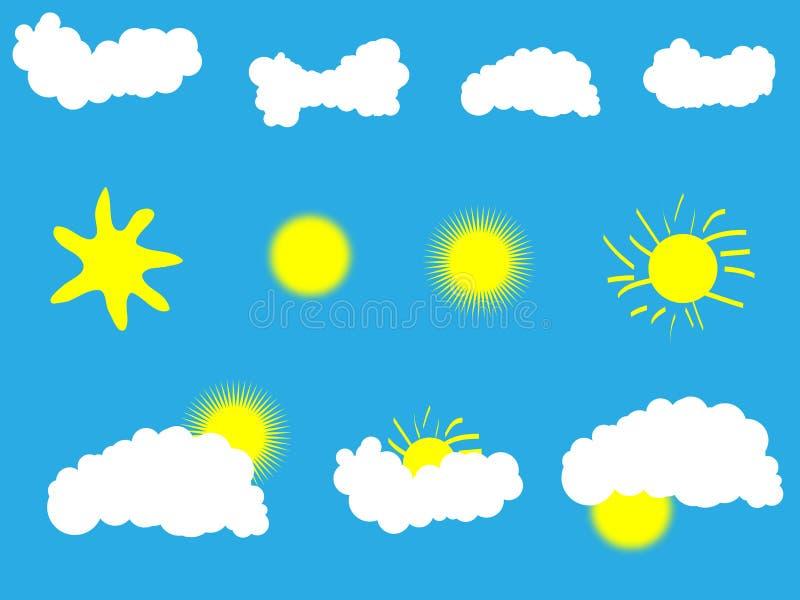 chmur ikon słońca pogoda ilustracji