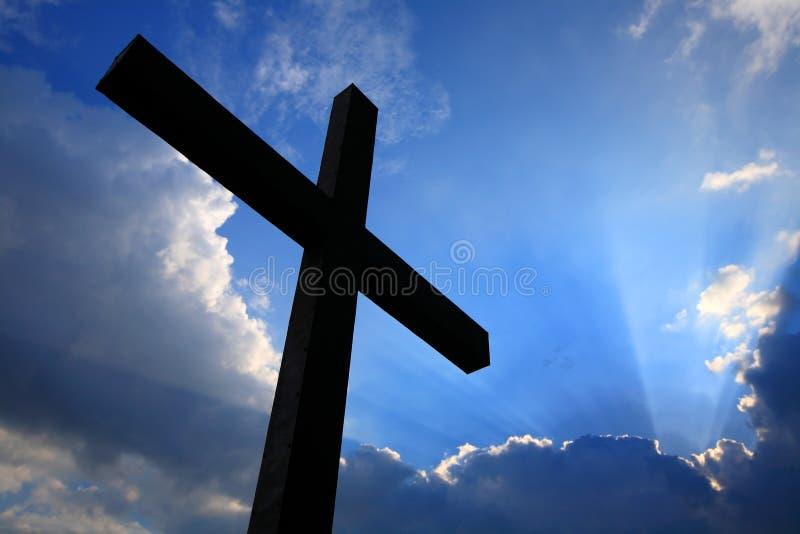 chmur krzyża sylwetka obraz stock