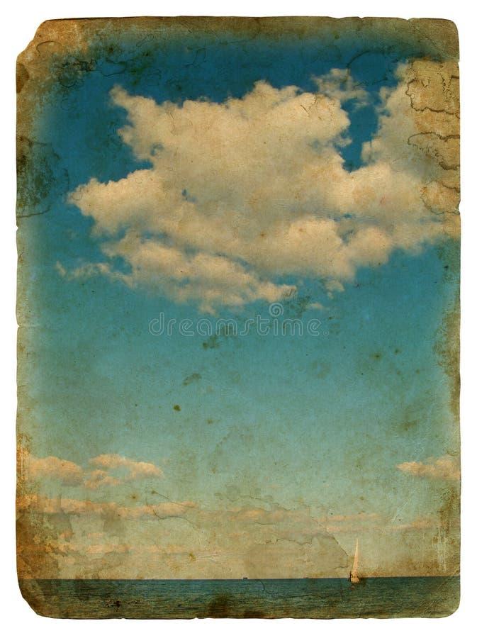 chmur stary pocztówkowy żeglowania jacht royalty ilustracja