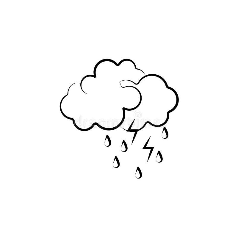 Chmura, deszcz, błyskawicowa ikona Element pogodowa ikona dla mobilnych pojęcia i sieci apps Ręka rysująca chmura, deszcz, błyska ilustracji
