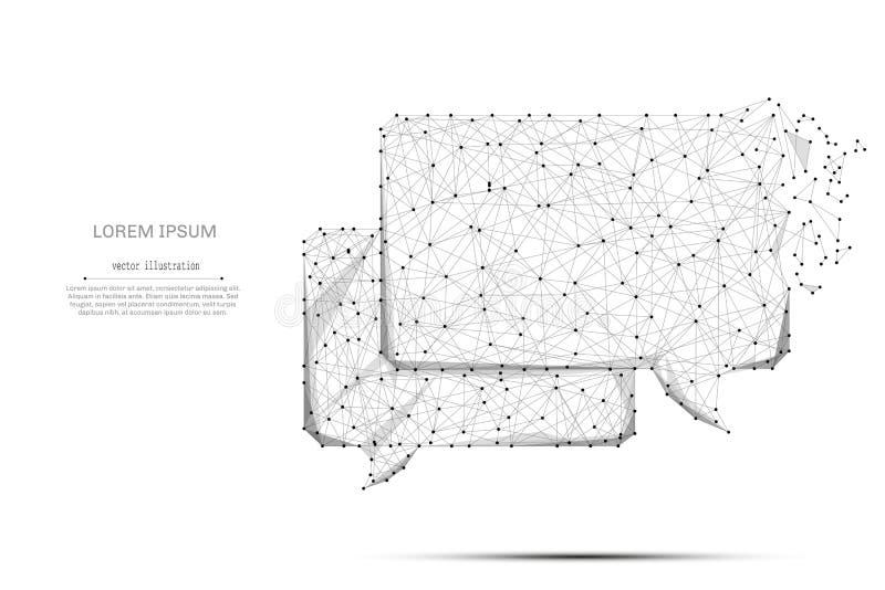 Chmura dialog niskie poli- szarość na bielu ilustracja wektor