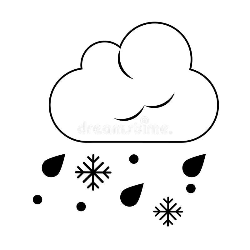 Chmura i śnieżny pogodowy symbol odizolowywający w czarny i biały ilustracji