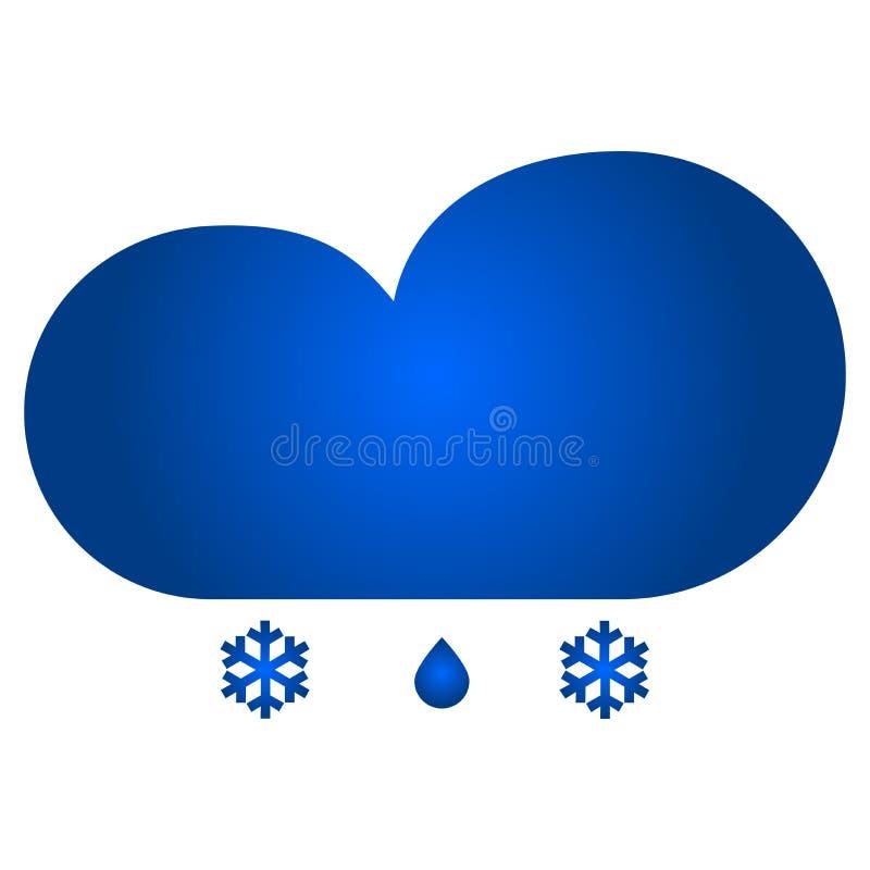 Chmura i śnieg z podeszczową ikoną ilustracja wektor