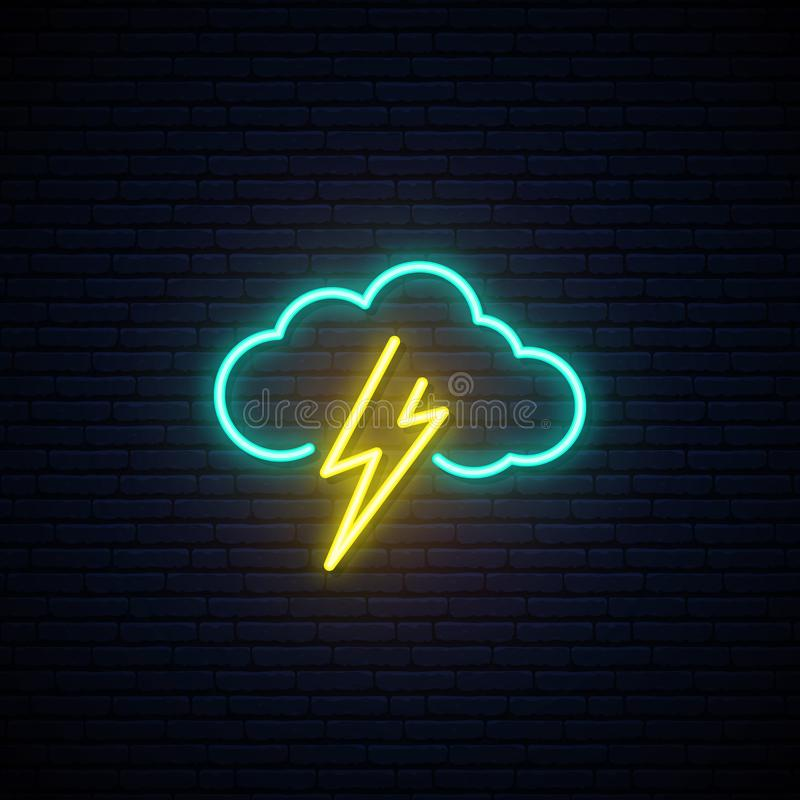 Chmura i błyskawicowa neonowa ikona royalty ilustracja