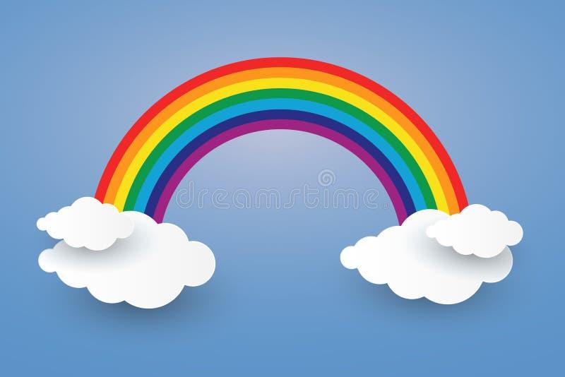 Chmura i tęcza w niebieskie niebo papieru sztuce Projektujemy Illusatra obraz stock