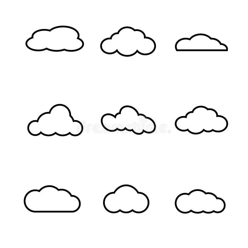 Chmura kształtuje kolekcję na białym tle ilustracja wektor
