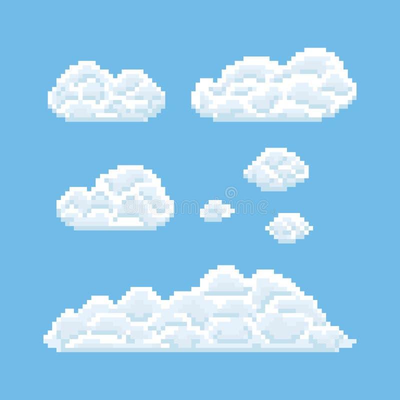 Chmura kształty ustawiający Piksel sztuki 8 kawałka tekstury ilustracja ilustracji