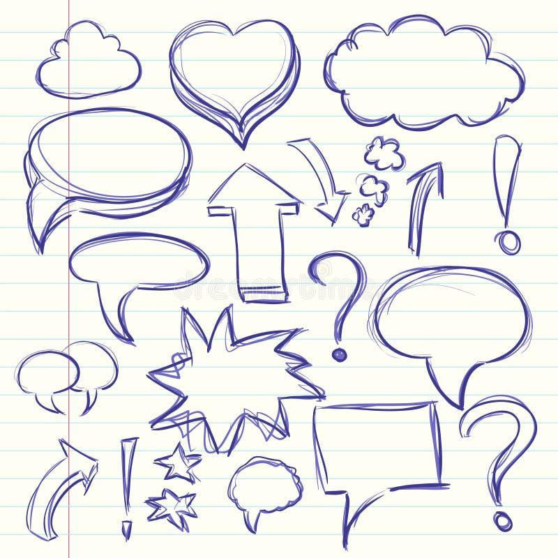 Chmura myśli rozmowa w komiczkach, okrzyku i znakach zapytania, Inkasowy nakreślenie rysunek ilustracja wektor