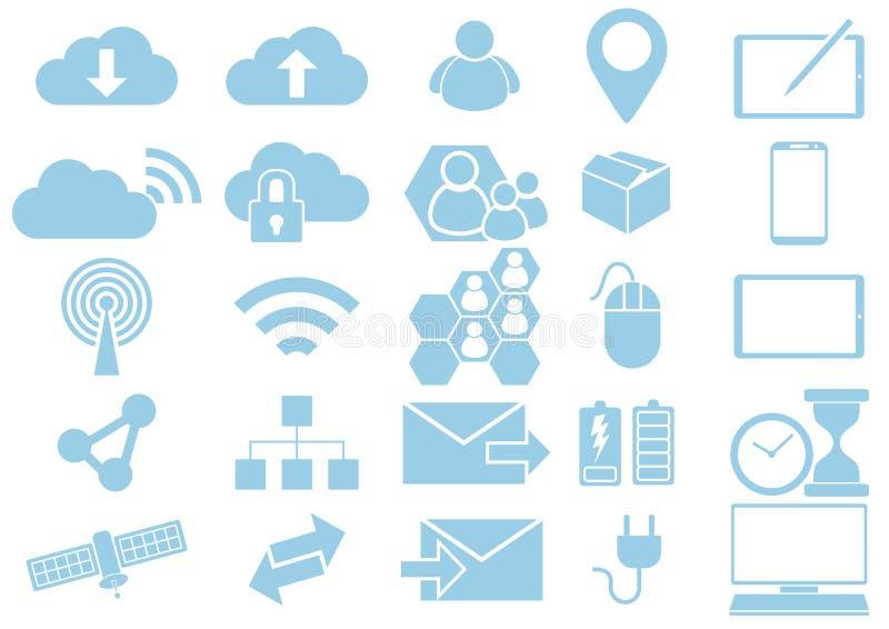 Chmura networking urządzenia przenośnego sieci ikony Komunikacyjna kolekcja royalty ilustracja