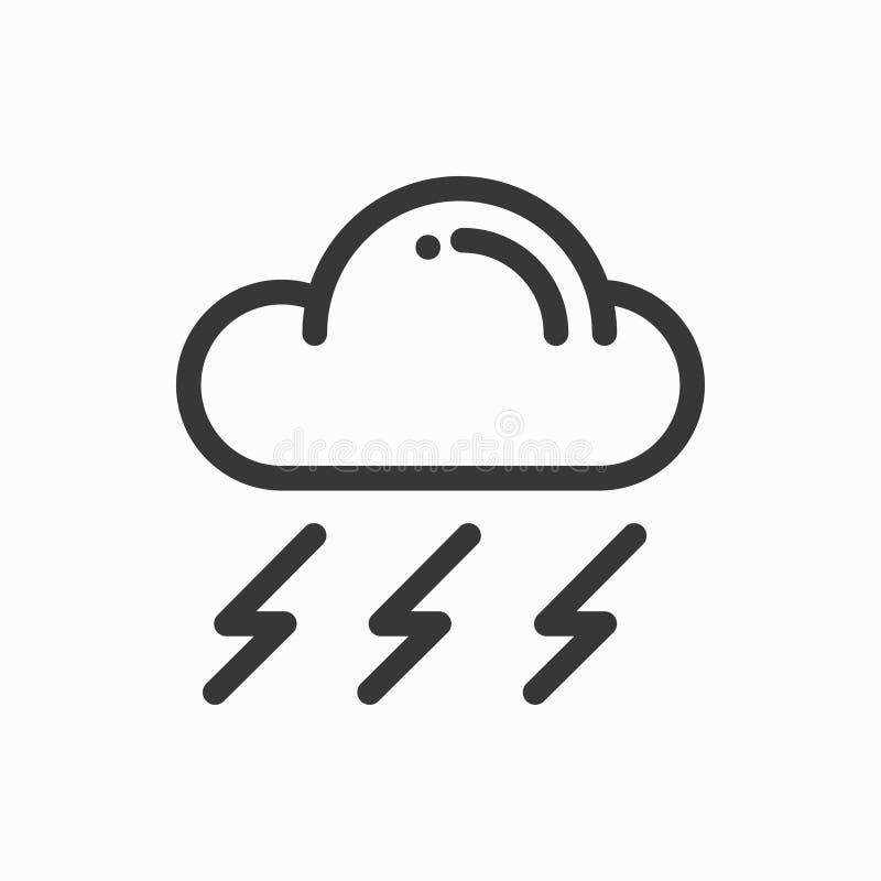 Chmura, niebo, deszcz, burzy kreskowa prosta ikona Pogodowi symbole meteorologia Prognoza projekta element Szablon dla wiszącej o royalty ilustracja