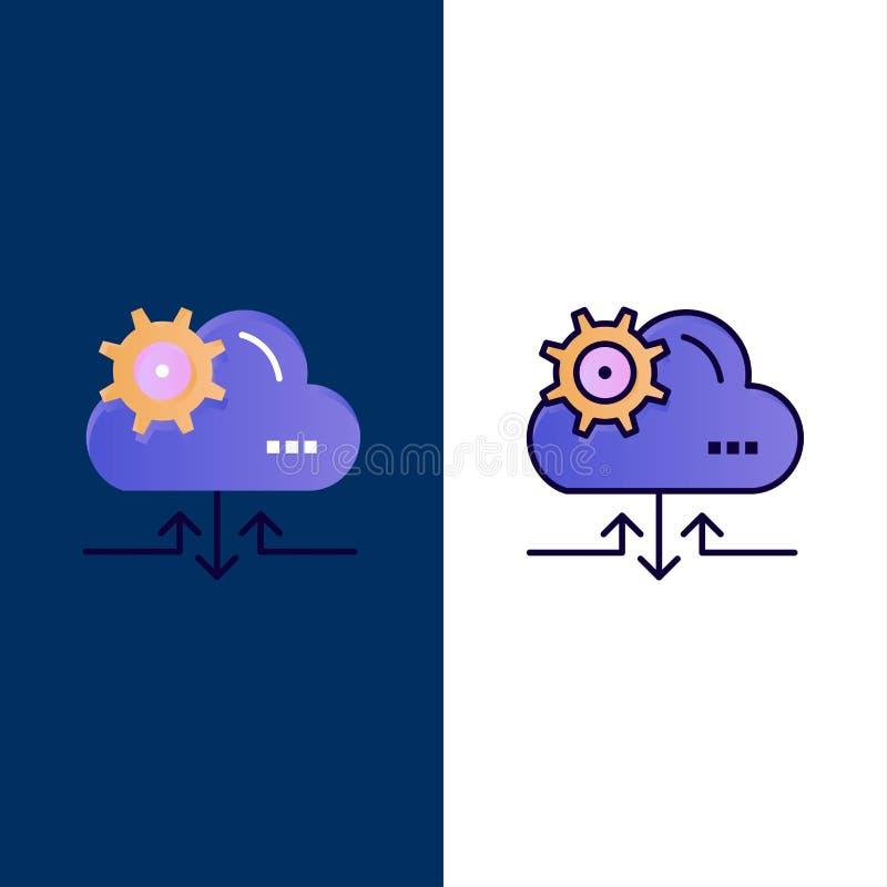 Chmura, położenie, przekładnia, Strzałkowate ikony Mieszkanie i linia Wypełniający ikony Ustalony Wektorowy Błękitny tło ilustracja wektor