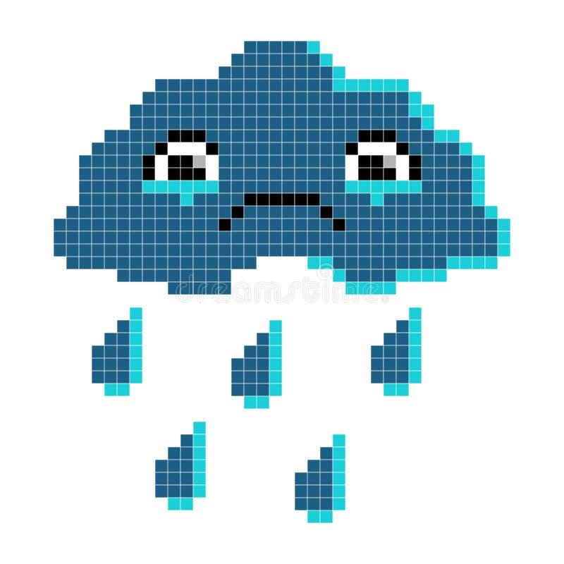 chmura smutny Piksel sztuka, kreskówka wektoru ilustracja ilustracja wektor
