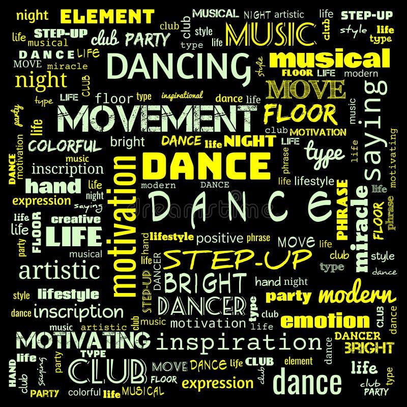 chmura tańca, taniec, taniec chmura wyrazów,korzystanie z chmury wyrazów dla banerów, malowania, motywacji, strony internetowej,  ilustracja wektor
