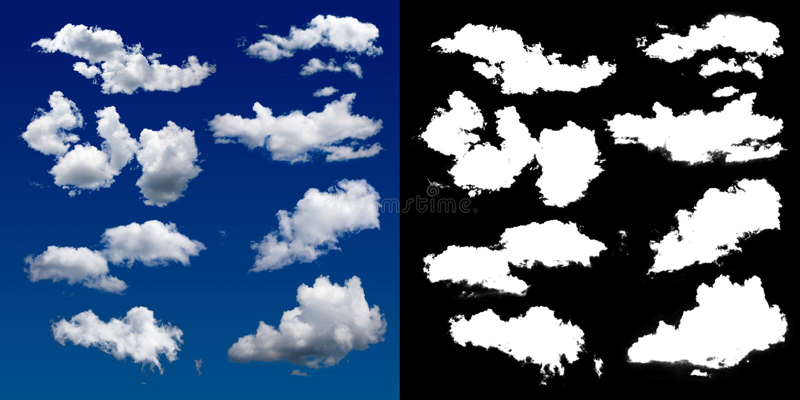 Chmura w niebie Halftone ścinku maska dla delikatnie rzeźbić out chmurę ilustracja wektor