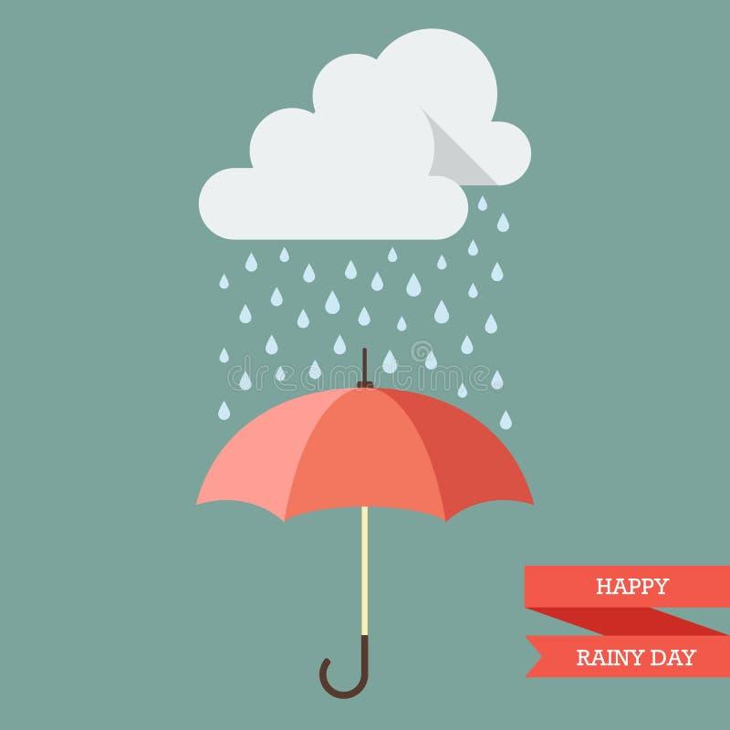 Chmura z deszcz kroplą na parasolu ilustracja wektor