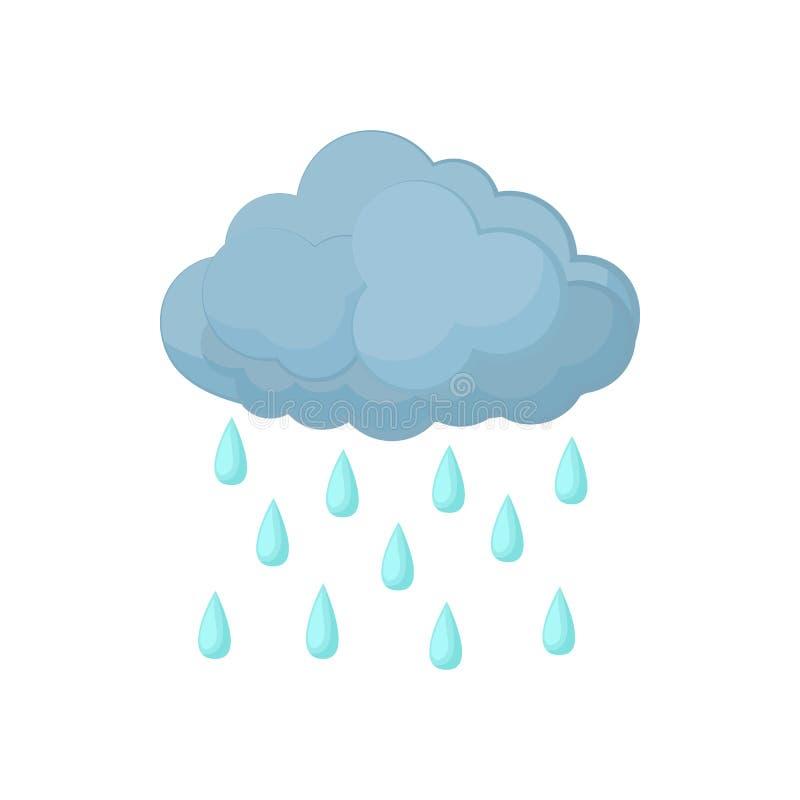 Chmura z deszczem opuszcza ikonę, kreskówka styl ilustracja wektor