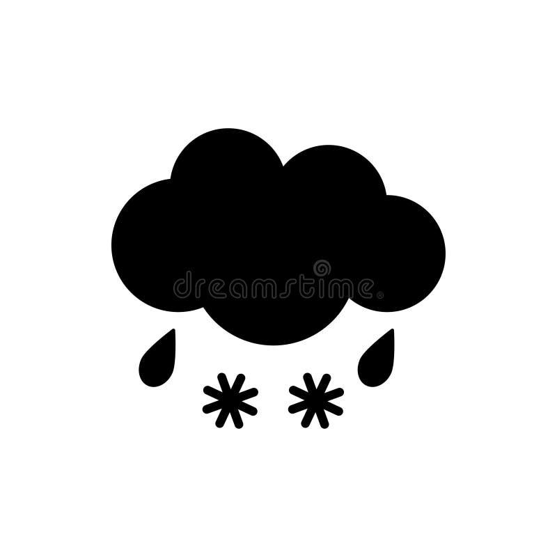 Chmura z deszczu i śniegu pogodową ikoną Płaska wektorowa ilustracja ilustracji