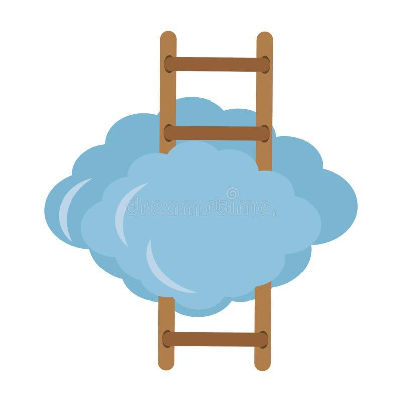 Chmura z drabinowym ikona wizerunkiem royalty ilustracja