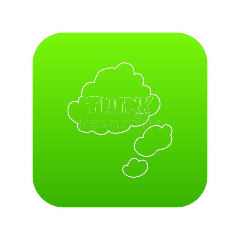 Chmura z myśli ikony zieleni wpisowym wektorem ilustracji