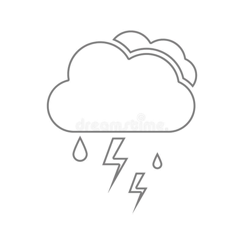 Chmura z podeszczowego i błyskawicowego rygla ikoną Element cyber ochrona dla mobilnego pojęcia i sieci apps ikony Cienieje kresk ilustracji