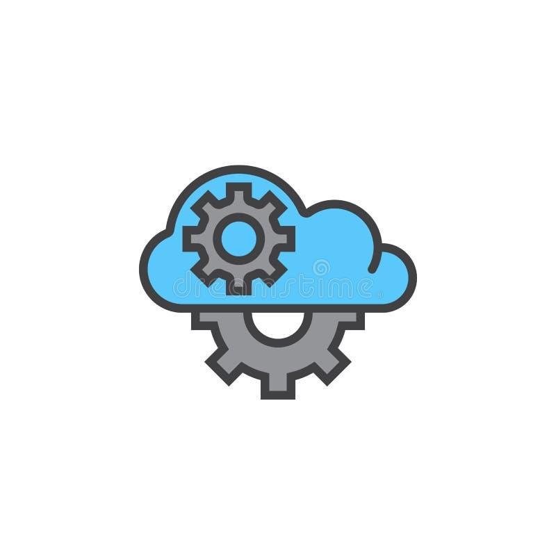 Chmura z przekładni kreskową ikoną, wypełniający konturu wektoru znak, liniowy ilustracja wektor