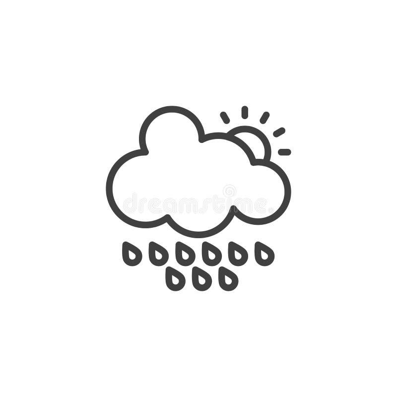Chmura z raindrops i słońce kreskową ikoną royalty ilustracja