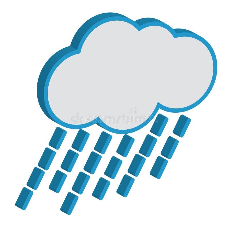 Chmura Z Raindrops prognozą pogody. ilustracja wektor