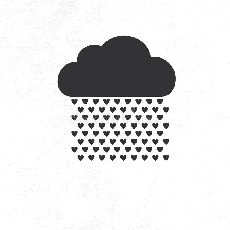 Chmura z serce deszczu kroplami royalty ilustracja