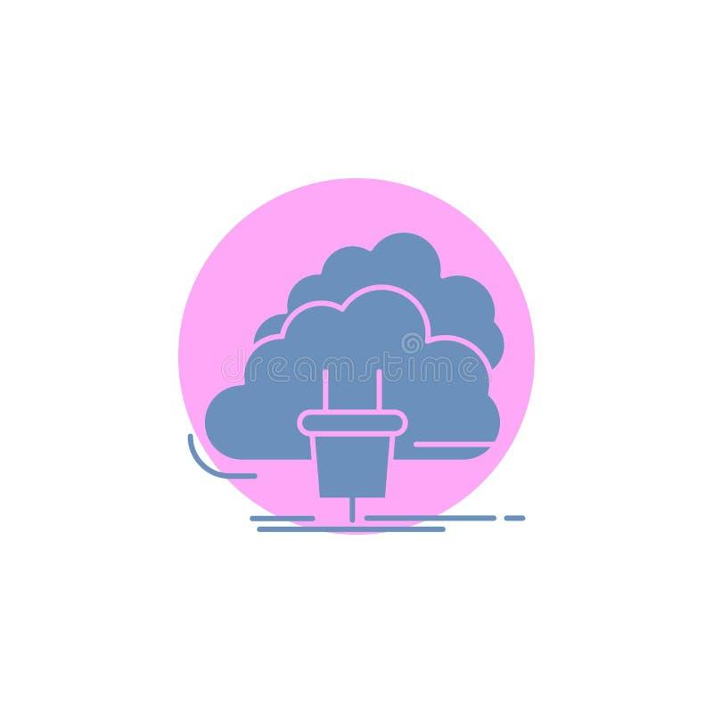 Chmura, związek, energia, sieć, władza glifu ikona ilustracja wektor