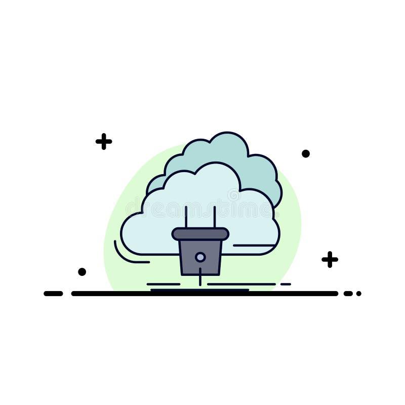 Chmura, związek, energia, sieć, władza koloru ikony Płaski wektor ilustracja wektor