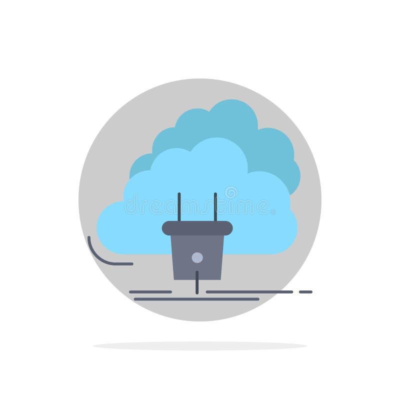 Chmura, związek, energia, sieć, władza koloru ikony Płaski wektor ilustracji