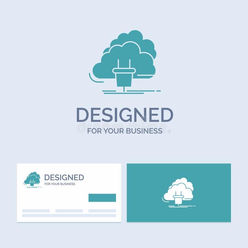 Chmura, związek, energia, sieć, władza logo glifu ikony Biznesowy symbol dla twój biznesu Turkusowe wizyt?wki z gatunkiem ilustracja wektor