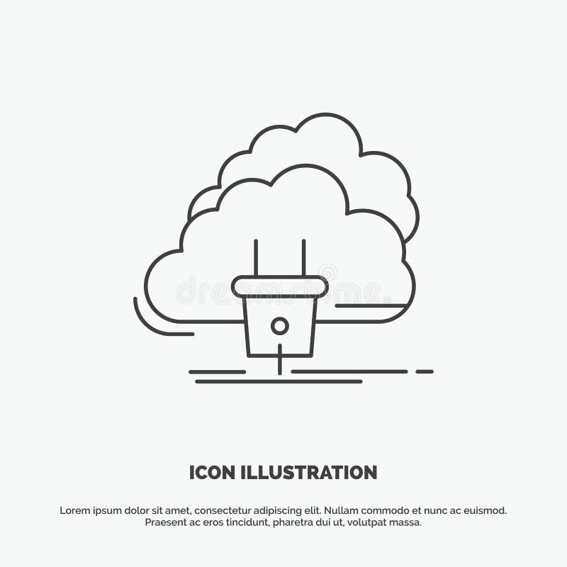 Chmura, związek, energia, sieć, władzy ikona Kreskowy wektorowy szary symbol dla UI, UX, strona internetowa i wisz?cej ozdoby zas ilustracja wektor