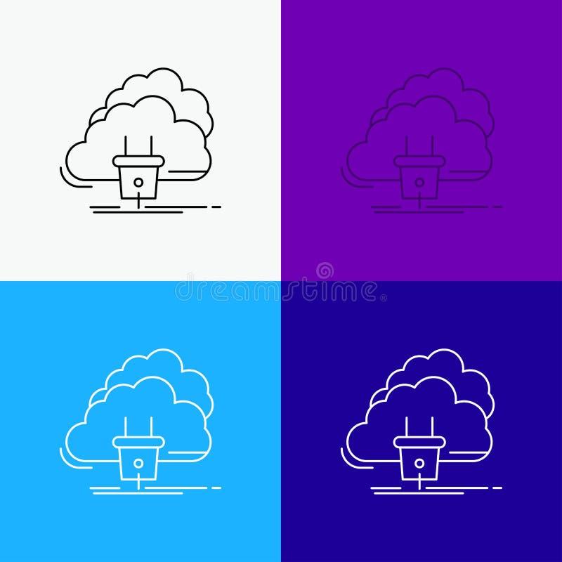 Chmura, związek, energia, sieć, władzy ikona Nad Różnorodnym tłem Kreskowego stylu projekt, projektuj?cy dla sieci i app EPS 10 w ilustracja wektor