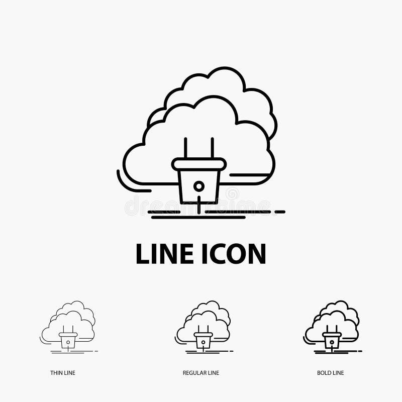 Chmura, związek, energia, sieć, władzy ikona w Cienkim, Miarowym i Śmiałym Kreskowym stylu, r?wnie? zwr?ci? corel ilustracji wekt royalty ilustracja