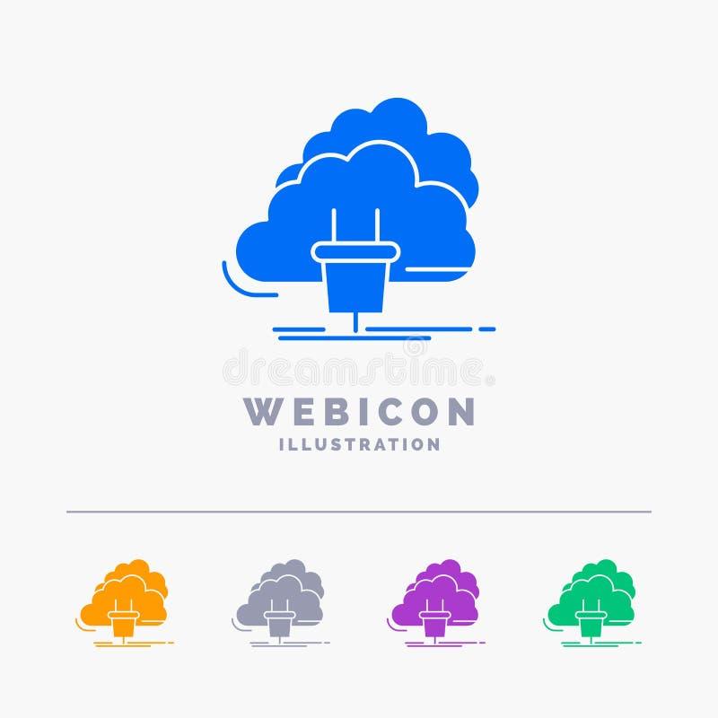 Chmura, związek, energia, sieć, władzy 5 koloru glifu sieci ikony szablon odizolowywający na bielu r?wnie? zwr?ci? corel ilustrac royalty ilustracja