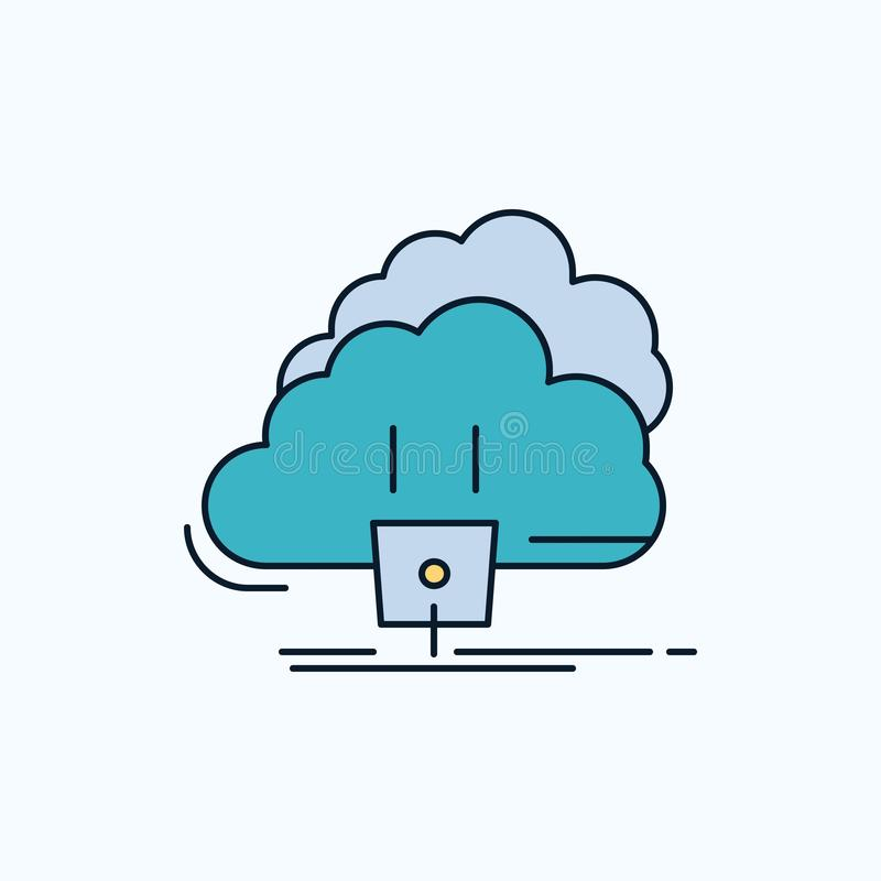 Chmura, związek, energia, sieć, władzy mieszkania ikona ziele?, kolor ilustracji
