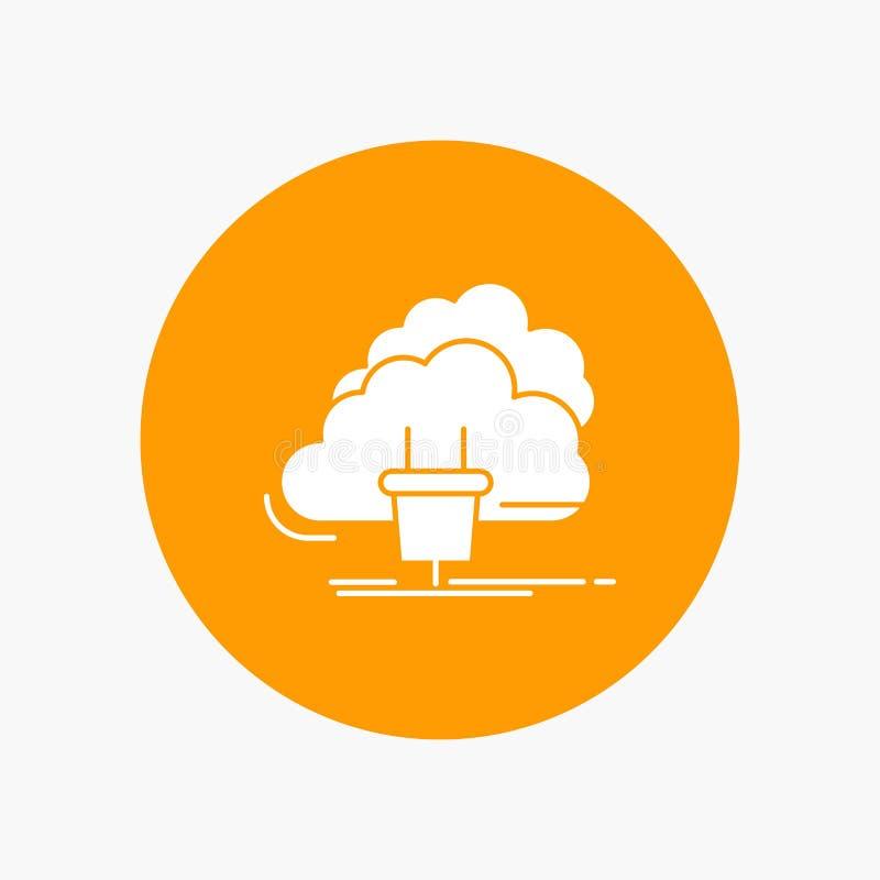 Chmura, związek, energia, sieć, zasila Białą glif ikonę w okręgu Wektorowa guzik ilustracja ilustracja wektor