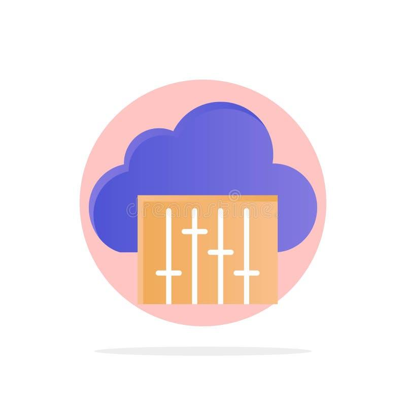 Chmura, związek, muzyka, Audio Abstrakcjonistycznego okręgu tła koloru Płaska ikona royalty ilustracja