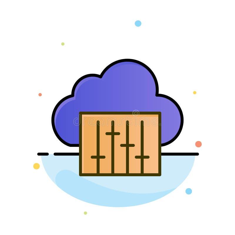 Chmura, związek, muzyka, Audio Abstrakcjonistyczny Płaski kolor ikony szablon royalty ilustracja