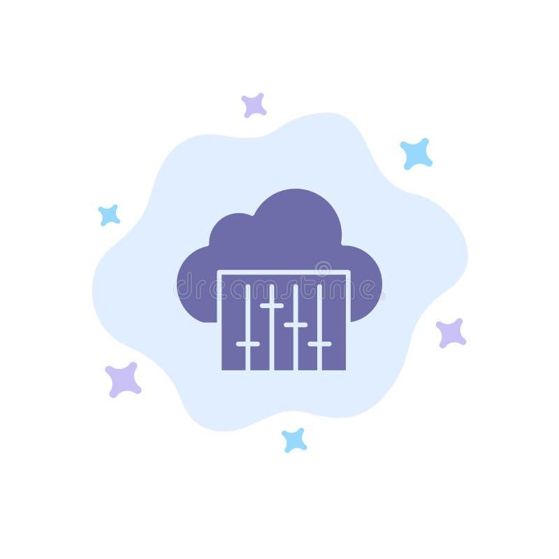 Chmura, związek, muzyka, Audio Błękitna ikona na abstrakt chmury tle ilustracja wektor