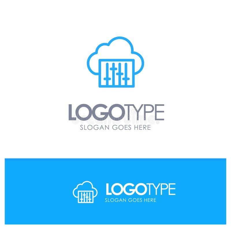 Chmura, związek, muzyka, Audio Błękitnego logo Kreskowy styl royalty ilustracja