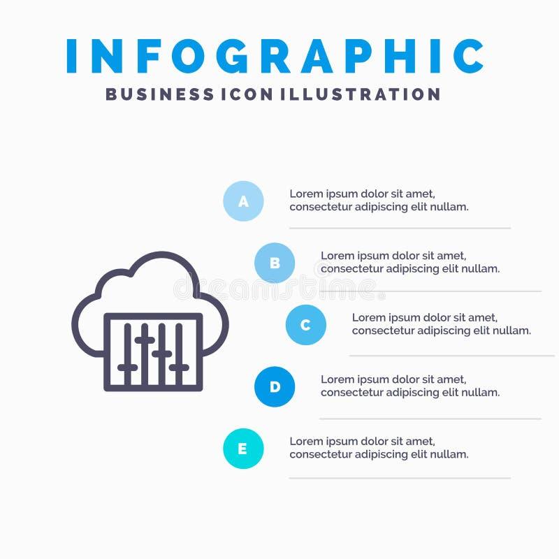 Chmura, związek, muzyka, Audio Błękitni Infographics szablonu 5 kroki Wektor ikony kreskowy szablon royalty ilustracja