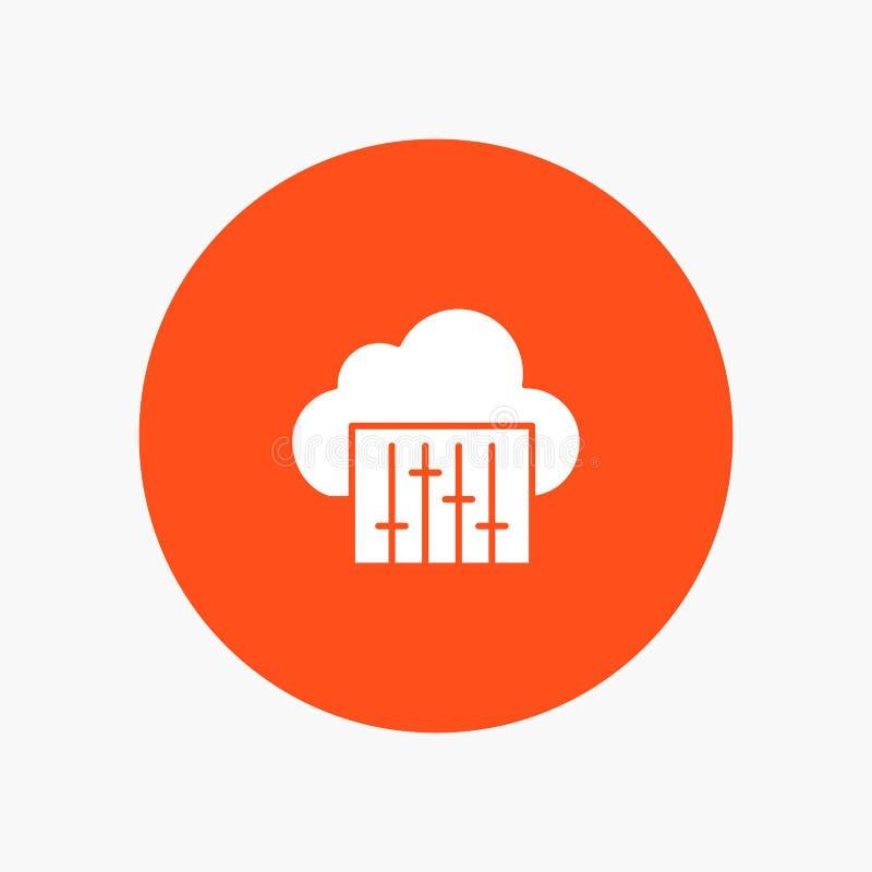 Chmura, związek, muzyka, Audio biała glif ikona ilustracja wektor