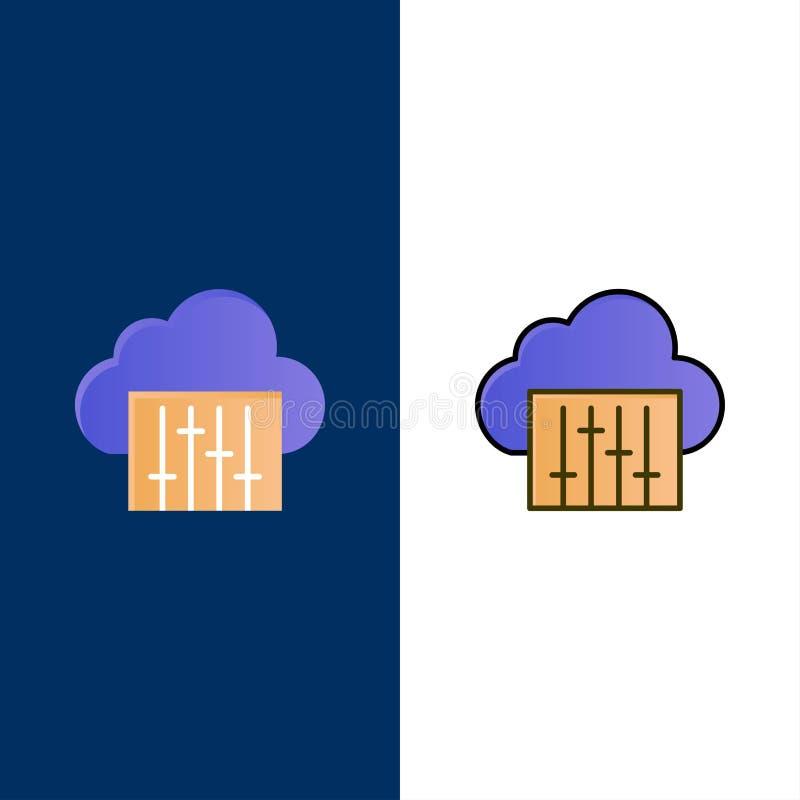 Chmura, związek, muzyka, Audio ikony Mieszkanie i linia Wypełniający ikony Ustalony Wektorowy Błękitny tło royalty ilustracja