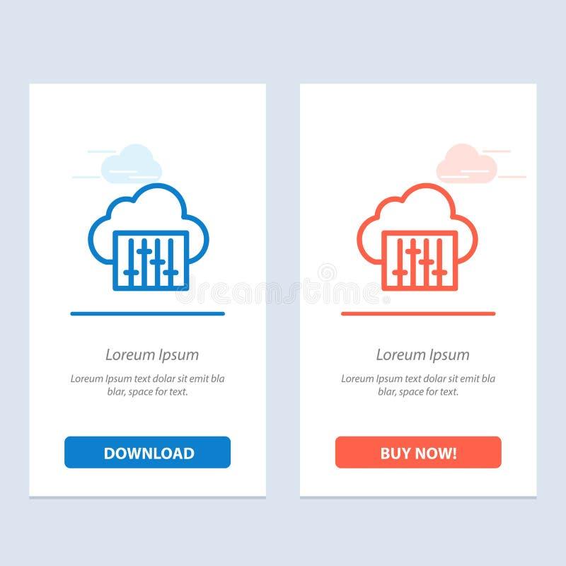 Chmura, związek, muzyka, Audio sieci Widget karty szablon, Błękitnej, Czerwonej i ściągania i zakupu Teraz royalty ilustracja