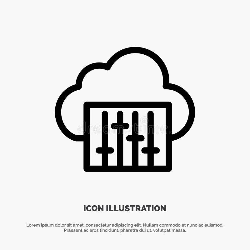 Chmura, związek, muzyka, Audio wektor linii ikona ilustracji