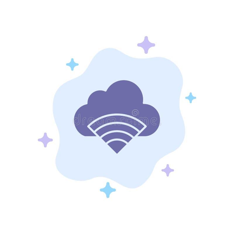 Chmura, związek, Wifi, Sygnałowa Błękitna ikona na abstrakt chmury tle ilustracja wektor