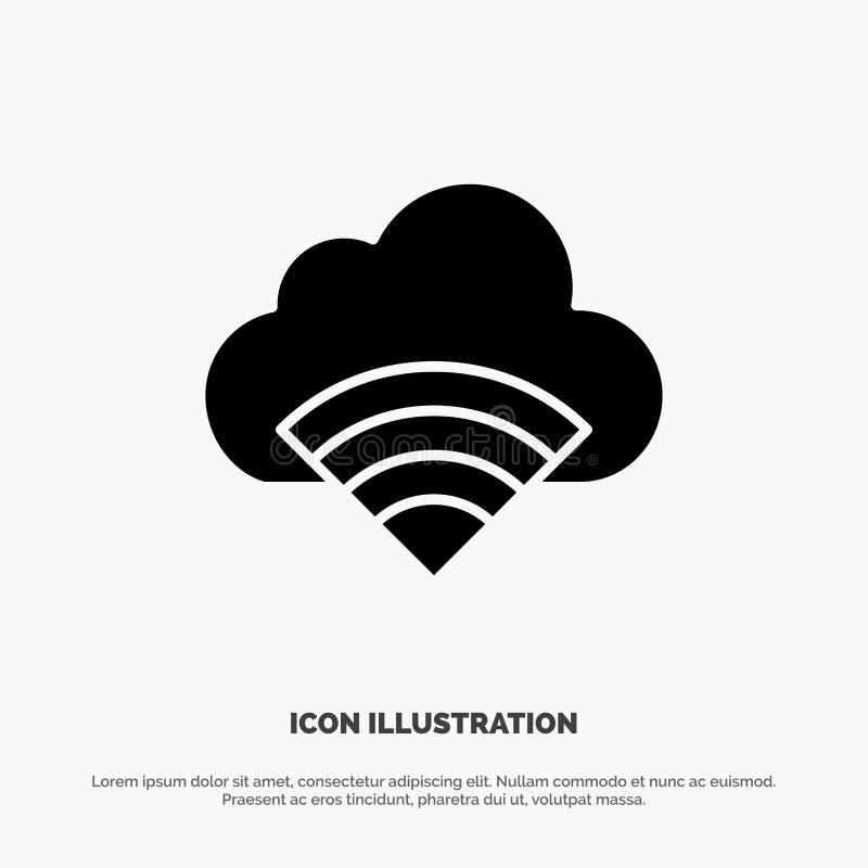 Chmura, związek, Wifi, Sygnałowa Stała Czarna glif ikona royalty ilustracja
