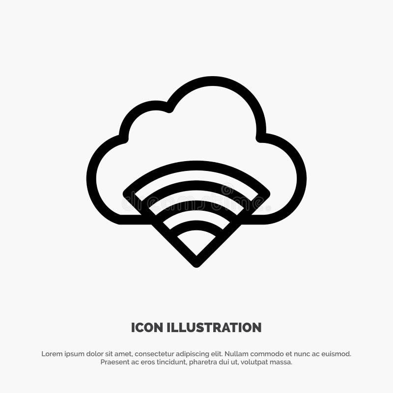 Chmura, związek, Wifi, Sygnałowego wektoru linii ikona ilustracja wektor